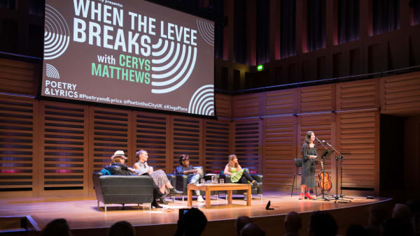 Cerys Matthews, Hannah Lowe, Malika Booker and Leonie Evans on stage at When the Levee Breaks, Poetry & Lyrics Festival 2018